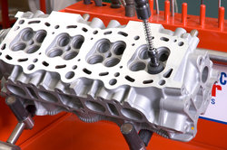 Ein Teil des Motors ohne Zylinderkopf.