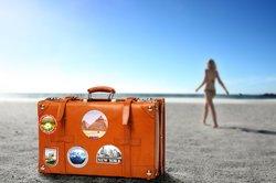 Handgepäck nach Wahl zum Reisen.