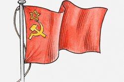 Hammer und Sichel der sowjetischen Flagge symbolisieren für viele den Kommunismus.