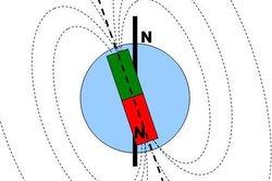 So verlaufen die Feldlinien des Erdmagnetfeldes.