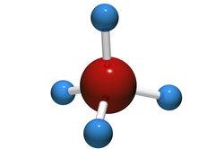 Das Methanmolekül ist ein idealer Tetraeder dank Hybridisierung.