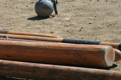 Der Baumstammweitwurf ist traditioneller Bestandteil der Highland Games.