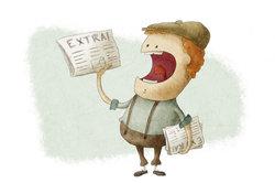 Ein Zeitungsausträger muss Wind und Wetter trotzen.