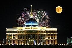 Feuerwerk über Astana, der Hauptstadt Kasachstans