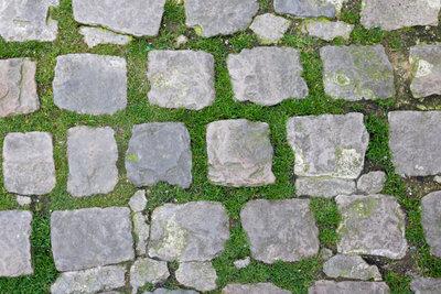 Das Gras zwischen den Steinplatten zu entfernen, kann sich als sehr mühselig erweisen.