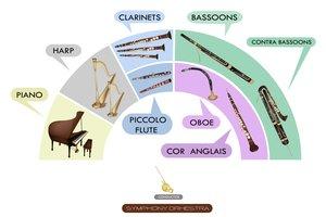 In einer Sinfonie erklingen sämtliche Orchesterinstrumente gleichzeitig.