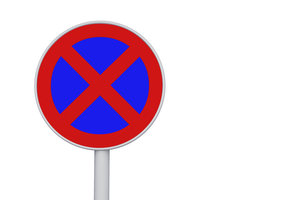 Das absolute Halteverbot, Zeichen 283, verbietet das Halten auf dem Gehweg.