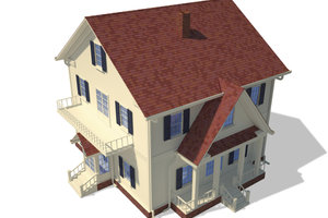 Viele Häuser haben ein Satteldach.