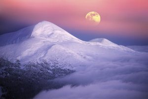Groß und orange - der Mond am Horizont.