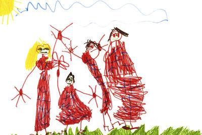 Eine typische Kinderzeichnung besitzt einfache Striche und ist in den Lieblingsfarben gemalt.