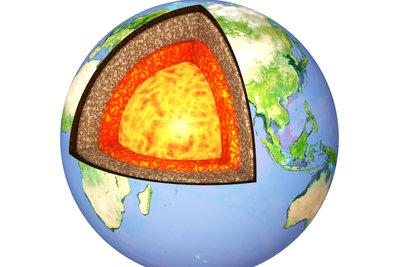 Das Innere der Erde besteht aus unterschiedlichen Erdschichten.