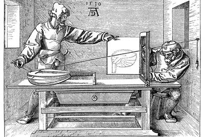 """Albrecht Dürer schuf 1525 """"Der Zeichner der Laute"""""""