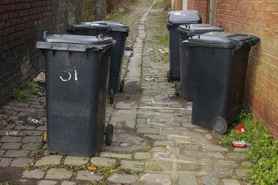 Ein Mülltonnenhaus kann triste Mülltonnen aufwerten.