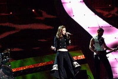 die albanische Sängerin Olta Boka beim EOC 2008 (Wikipedia.de)