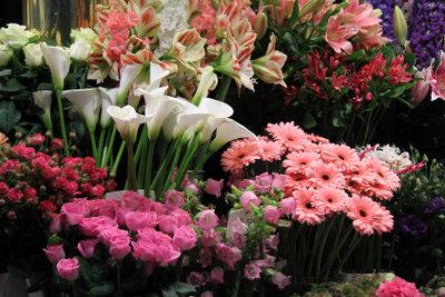 In vielen Blumengeschäften kann man auch sonntags Blumen kaufen.