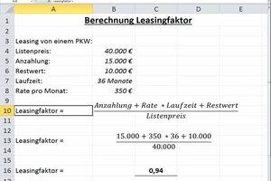 Leasingfaktor - Formel
