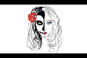 Schminke für Halloween - Faschingsschminke und normales Make-up im Vergleich