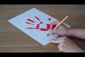 Basteln mit Krippenkindern - einfache Bastelideen mit Fingerfarbe