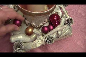 Weihnachtsgesteck selber machen mit Naturmaterialien