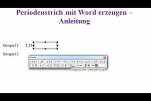 Periodenstrich mit Word erzeugen - Anleitung