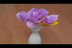 Blumen aus Krepppapier und Draht basteln - Anleitung