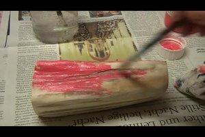 Bastelideen zum Nikolaus - so fertigen Sie Nikoläuse aus Holzscheiten an