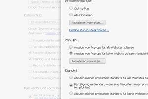 Google Chrome: Popup-Blocker ausschalten - so geht's