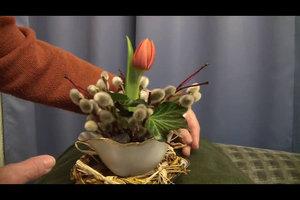 Zu Ostern basteln - Anleitungen für ein Weidenkätzchen-Dekoelement
