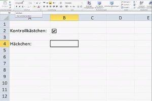 In Excel 2010 Häkchen setzen - so geht's