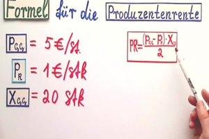 Produzentenrente - Formel und Berechnung