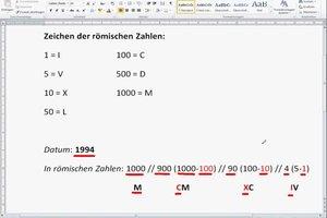 Datum in römische Zahlen umwandeln - eine Anleitung