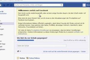 Facebook-Account gelöscht - so stellen Sie ihn wieder her