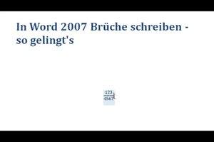 In Word 2007 Brüche schreiben - so gelingt's