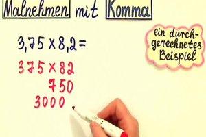 Schriftliche Multiplikation - eine Erklärung für Dezimalzahlen
