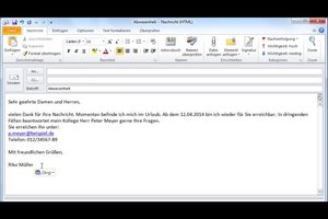 Abwesenheitsnachricht einstellen bei Outlook 2010 - Anleitung